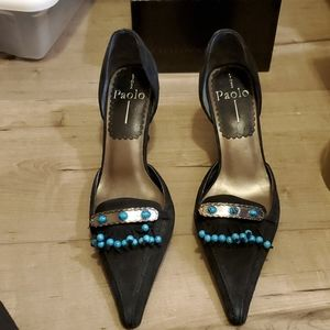 Linea Paolo suede pumps with blue beads